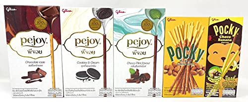 Pocky Biscuit Stick & Pejoy Biscuit Stick, 5 Variety Flavor, 7.39 Ounce Total (5 Variety Packs)