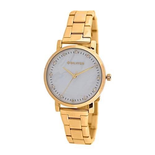 Reloj Bilyfer para Mujer con Correa Dorada y Pantalla en Blanco 3P553B-D
