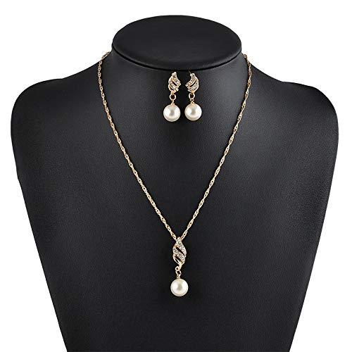 ZYJ MujerEspiral Perla Colgante Cadena Perla Collares + Pendiente Conjunto de Joyas,Gold Color