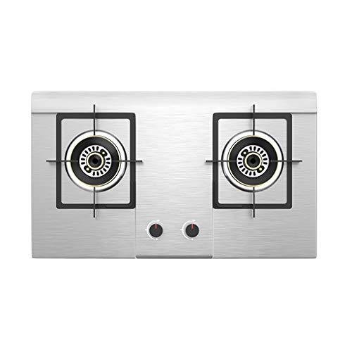 Cocina De Gas, Placa De Cocina De Gas Incorporada Con 2 Quemadores Cuadrados, Panel De Acero Inoxidable, Eficiencia Energética Primaria