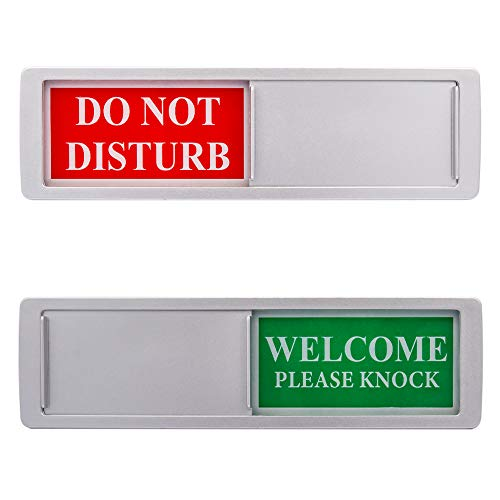Privacy Sign - Do Not Disturb / Welcome Sign for Home Office Restroom Conference Hotel Hospital, Easy to Read Non-Scratch Magnetic Slider Door Indicator Sign with Clear, Bold & Colored Text - Silver