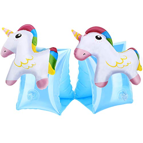 HeySplash Inflatable Arm Bands for Kids, Floatation Sleeves Floats Tube Water Wings Swimming Arm Floats Cute, Unicorn