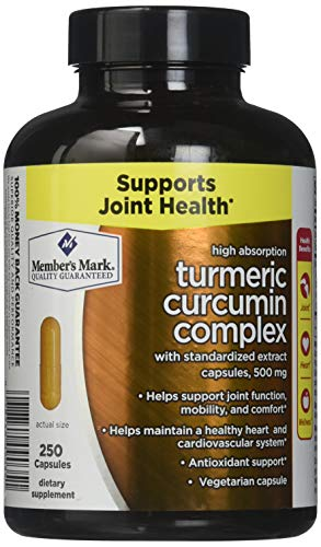 Members Mark High Absorption Turmeric Curcumin Complex with Standardized Extract Capsules, 500mg (1 bottle (250 capsules))