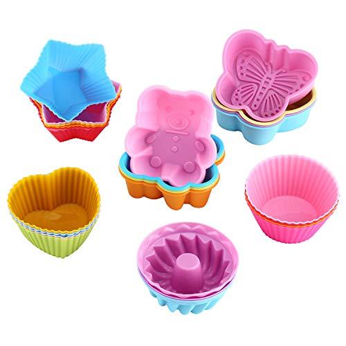 WOMGF 26 Moules à Muffin Moules de Cuisson en Silicone Réutilisables Moules à Cupcakes en Silicone Réutilisables antiadhésif Étoiles Fleurs Rondes pour Cupcake