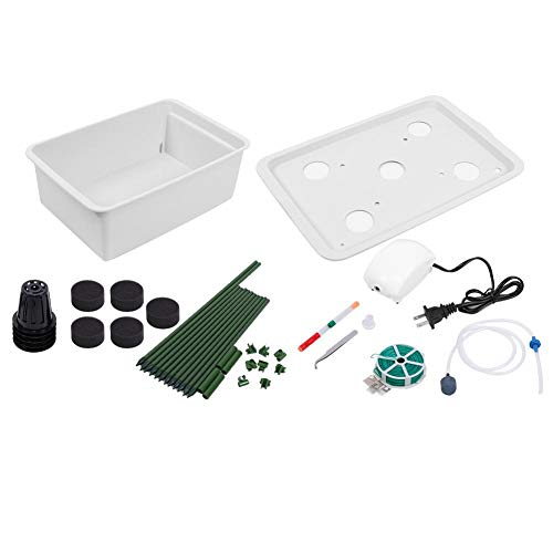 5 Holes Soilless Hydroponic System Growing Kit Rack Water Planting System for Tomato Cucumber US Plug 110V