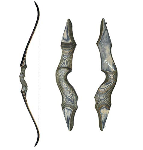 Black Hunter 60 Zoll Profi Bogenschieszlig;en Takedown Recurvebogen Set 20-60lbs Linke Hand Holzbogengriff Jagdbogen fuuml;r Erwachsene Sportbogen