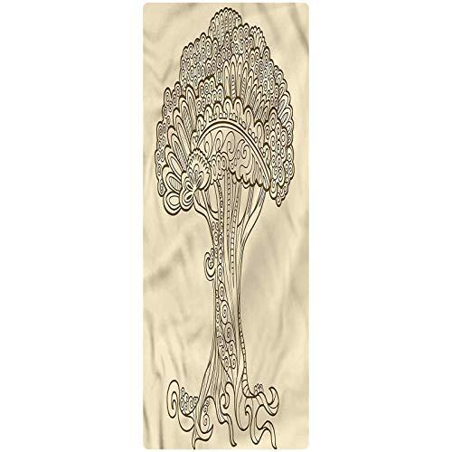 Tree of Life Runner Rug, 2'x3', Henna Doodle Ornament Kitchen Rugs Non Skid Area Floor Mat for Hallway Entry Way Floor Carpet