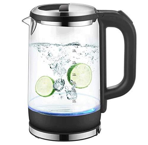 SMSOM Vidrio Tetera eléctrica con Vidrio borosilicato y Acero Inoxidable - 1,8 Litro rápido Hervir Tetera con Apagado automático - el Calentador Mejor Agua Caliente for el té, café, Sopa