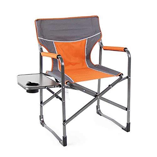 L@LILI Chaise de Camping Pliante avec Table d'appoint, Chaise de pêche en Aluminium léger en Plein air Chaise Portable Compact Yard pour Les Personnes Lourdes,C
