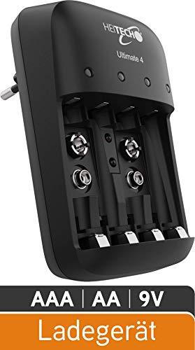HEITECH batterijlader Ultimate 4-4-voudige snellader voor het opladen van batterijen & oplaadbare batterijen - Batterijlader voor AAA, AA & 9V NiMH-batterij - Batterijlader