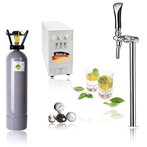 SPRUDELUX® Untertisch-Trinkwassersystem - Trinkwassersprudler Sprudel-Lok - NEUHEIT! inkl. Tesoro Edelstahl verchromt Zapfhahn mit Kompensator mit und ohne 2 Kg CO2 Flasche (Mit 2kg CO2 Flasche)