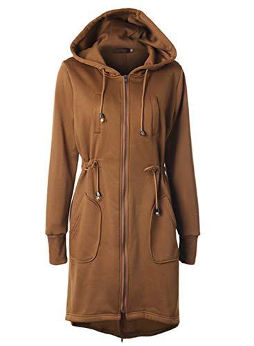 LOSRLY Damen Mantel mit Reißverschluss, lange Tunika, Sweatshirts, Jacken, Kordelzug, Kapuze mit Taschen für Frauen Gr. 50-52, khaki