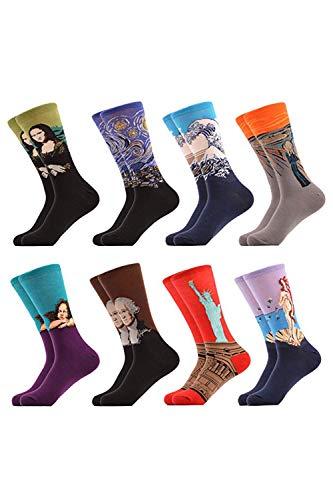 Calcetines Para Hombre Invierno Famosa Pintura Al Óleo Floral Crew Calcetines 8 Pair Set8P One Size