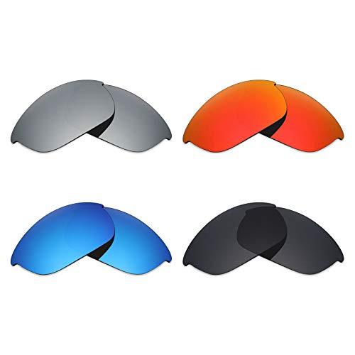 MRY 4Paar Polarisierte Ersatz Gläser für Oakley Half Jacket 2.0sunglasses-stealth schwarz/fire rot/ice blau/silber titan