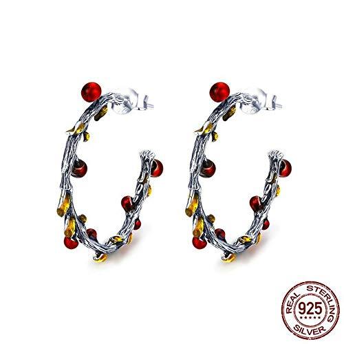 ZHWM Ohrringe Ohrstecker Ohrhänger 925 Sterling Silber Herbst Pflanze Verwelkt Baum Blätter Creolen Für Frauen Ohrringe Schmuck