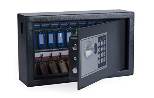 Pavo 8002696 Schlüssel Kasten/Schrank/Tresor, 20 Haken mit seitlichem Schlüsseleinwurf, metall dunkelgrau, 14,7 x 34,7 x 20,5 cm
