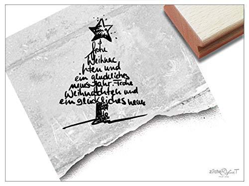 Stempel Weihnachtsstempel Frohe Weihnachten und EIN glückliches neues Jahr, Baum - Textstempel Karten Geschenkanhänger Weihnachtsdeko - zAcheR-fineT (groß ca. 53 x 68 mm)