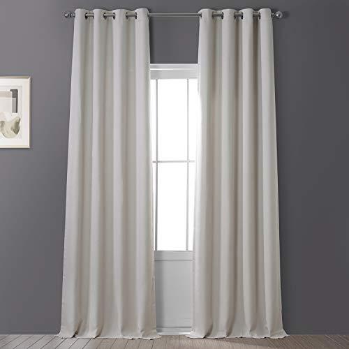 HPD Half Price Drapes BOCH-LN1856-84-GR Faux Linen Grommet Blackout Room Darkening Curtain (1 Panel), 50 X 84, Birch