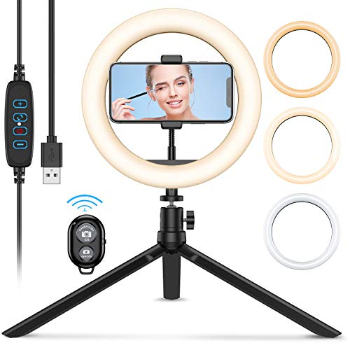 (2020 Upgraded New) 8'' LED Ring Light with Tripod Stand, Dimmable Desk Makeup Light for TIK Tok, Live Streaming & YouTube Video, Phpgography, with Phone Holder, 3 Light Modes and 10 Brightness Level