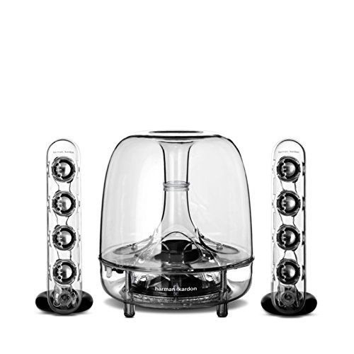 "Harman/Kardon Soundsticks III LED Desktop Soundsystem Lautsprechersystem mit Zwei ""Sticks\"" Satellitenlautsprechern und Aktivem Subwoofer für Geräte mit 3,5mm Aux Kompatibilität - Transparent"