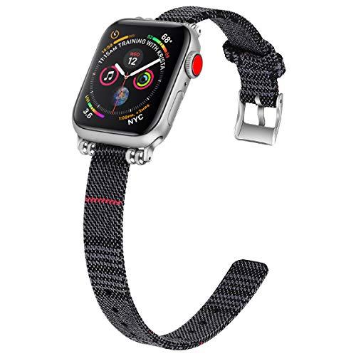 ESTUYOYA - Pulsera de Nailon Compatible con Apple Watch Diseño Ultafino Transpirable Acero Inoxidable Ligera y Elegante Mujer 38mm 40mm Series 6/5 / 4/3 / 2/1 / SE/Nike+ - Black