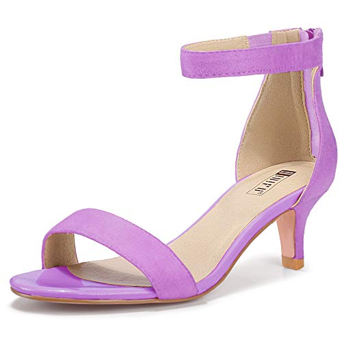 IDIFU Women's Low Kitten Heels Sandals Ankle Strap Open Toe Wedding Pump Shoes with Zipper(8.5, Lavender Suede)
