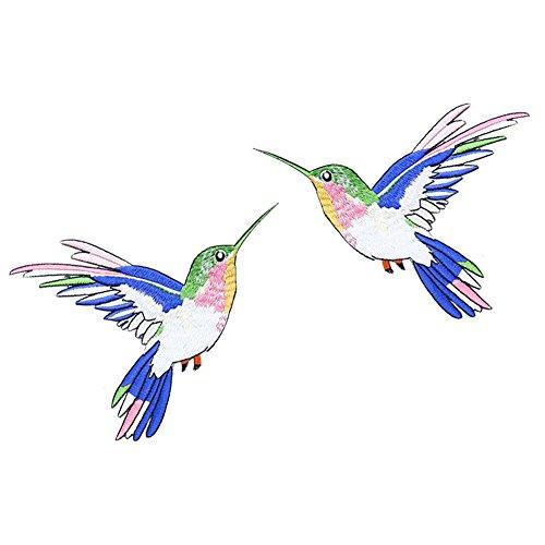 XUNHUI Kolibri bestickt Patch Eisen auf Nähen auf DIY Nähen Vogelmotiv Kostüm Bekleidungszubehör gestickte Applikation 1 Paar 12 x 15 cm