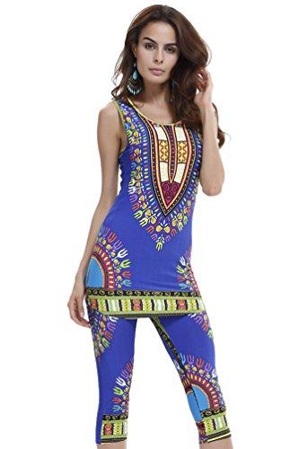 Yuncai Verano Mujer Africano Geométrico Impreso Camisa sin Mangas y Pantalones Cortos