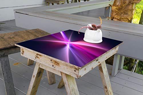 Wallario Aufkleber Selbstklebende Garten-Tisch-Decke - Abstrakte Formen und Linien schwarz lila pink weiß in 70 x 70 cm