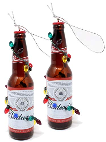 Kurt Adler Budweiser and Bud Light Beer Bottle Ornaments (Budweiser Two Pack)
