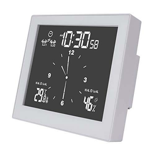 YXDS Reloj Digital Resistente al Agua, Reloj de Pared para baño, Ducha, succión, Soporte de Pared, Temporizador de Alarma, medidor de Alarma de Temperatura y Humedad