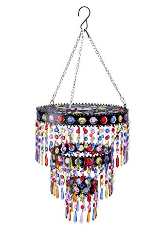 Wind & Weather Outdoor Solar Lighted Colorful Mini Chandelier with Faux Crystals and Jewels - 10.5 L x 10.5 W x 24 H