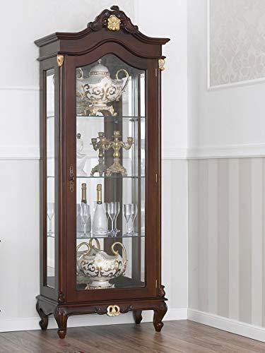 SIMONE GUARRACINO LUXURY DESIGN Vetrina Chantal Stile Barocco Inglese 1 Porta Noce e Foglia Oro