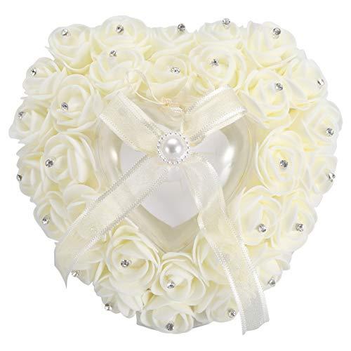 Regalo di Aprile Scatola per FEDI Nuziali, Cuscino a Forma di Cuore Romantico con Anello a Forma di Rosa(Beige)