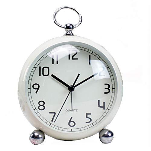 LULUVicky-Home Réveil Rétro Réveils métal Horloge de Bureau Ultra-Silencieux Petit réveil avec lumière de Nuit, Bureau Armoire de Chevet Voyage réveil (Couleur : Blanc, Taille : 12.3X6.5X18cm)
