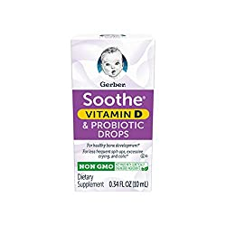 Gerber Soothe Baby Probiotic Drops with 100% Daily Vitamin D For Newborns, Infants, Babies and Toddl