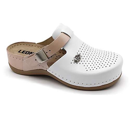 LEON 901 Sandalias Zuecos Mules Zapatillas Zapatos de Cuero, Mujer, Salmón, EU 37