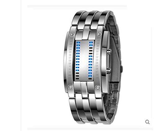 Herrenuhr, Edelstahl Datum Digital Led Watch, Wasserdicht Binäre Bewegung Armband-B