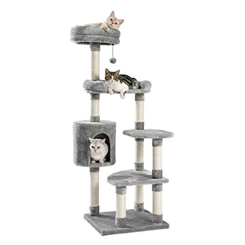 Made4Pets MultiLevel 55'' cat Tree Tall Cat Tower with 2 Condos Long Slope ramp Hammock Two perches Large and Small Replaceable Dangling Ball