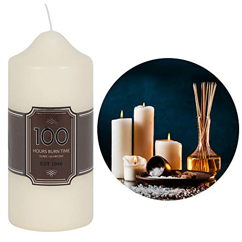 RAJX Pillar Candle, 100 Hours Smokeless Burning Time, Unscented 16cm Long, Suitable for Church, Home Décor, Spa, Wedding, Restaurant, Home Decoration