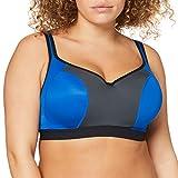 Marca Amazon - Iris & Lilly Sujetador Deportivo Mujer, Multicolor (Royal/nero/antarctic), 85C, Label: 32C