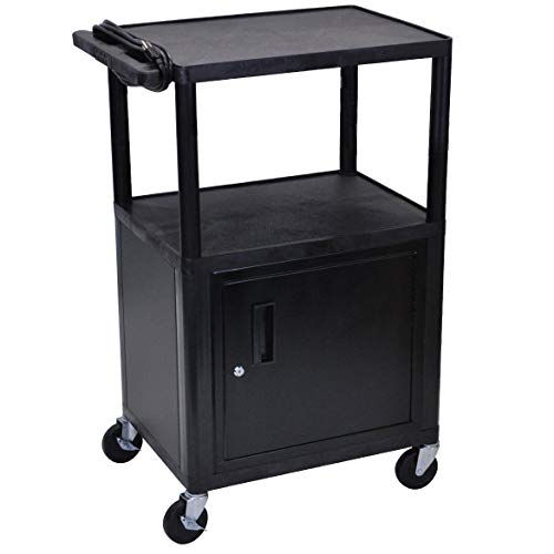 Luxor Black Endura 3 Shelf A/V Cart W/Cabinet - LE42C-B