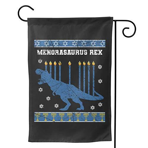 Voglawear Jew Menorah Hanukkah Christmas Dino Dinosaurs Garden Yard Flag Vertical Printing Double Sided Yard Outdoor Decorative