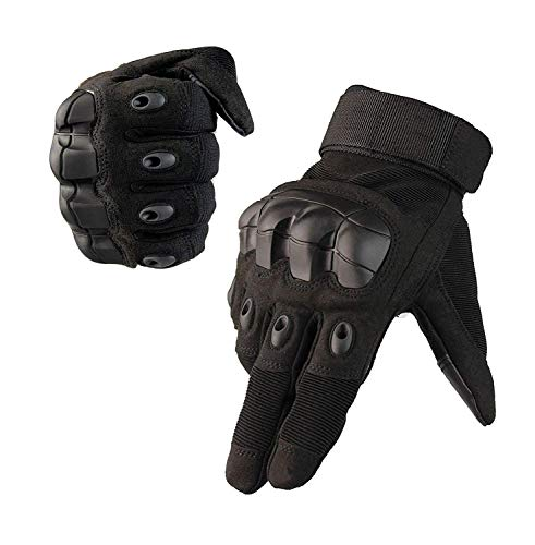 XL Keenso 1 Pair of Full Finger Leather Motorcycle Cycling Racing Gloves Motocross Protective Gears Outdoor Sports Armed Knight Gloves Black