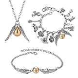 SOYOKO Harry Potter Golden Snitch Charms Themed 8' Friendship Bracelets Necklace for Teens Girl Women Charm Bracelet (Set 3)