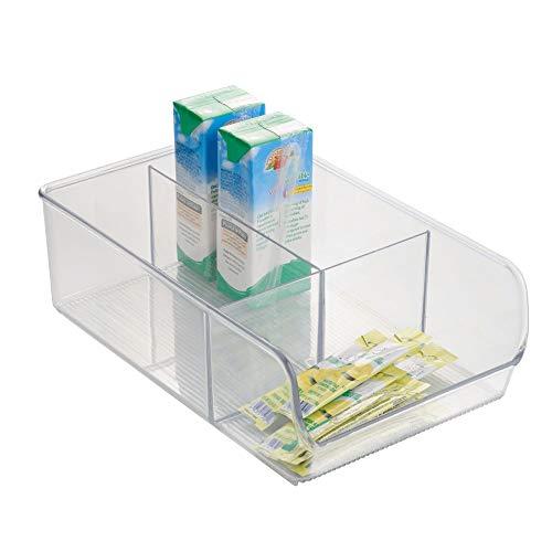 iDesign Caja transparente con 3 compartimentos, organizador de cocina mediano de plástico, caja organizadora sin tapa y apilable para armarios y cajones, transparente