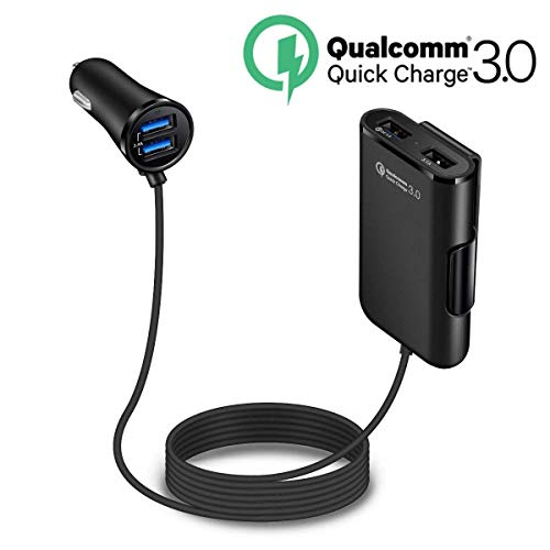 Quick Charge QC 3.0 Car Charger, LECMARK Front/Back Seat Charging Car Cigarette Lighter Chargers Adapter with 4 USB Ports Vehicle Charger for Android iOS Smartphones
