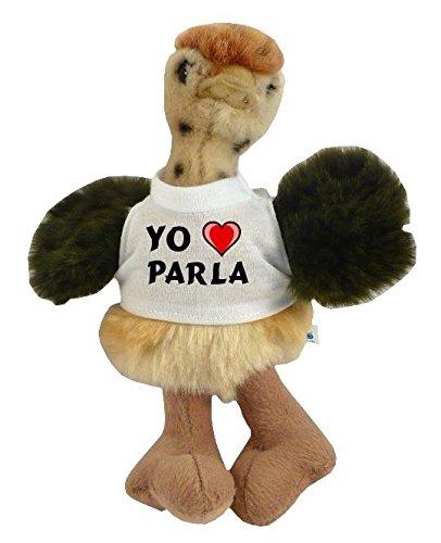 Avestruz personalizado de peluche (juguete) con Amo Parla en la camiseta (ciudad / asentamiento)