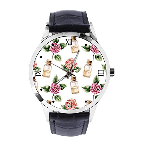 Amellia - Reloj de Pulsera Unisex con diseño de Flor y Botella de Perfume