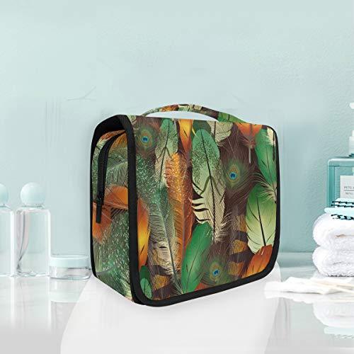 Plumas Coloridas Del Arte Trousse De Toilette Sac Pliable Suspendu Cosmétique Sac Rangement Maquillage sacs pour Voyage Femmes Filles